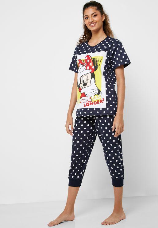 Graphic Printed T-Shirt & Pyjama