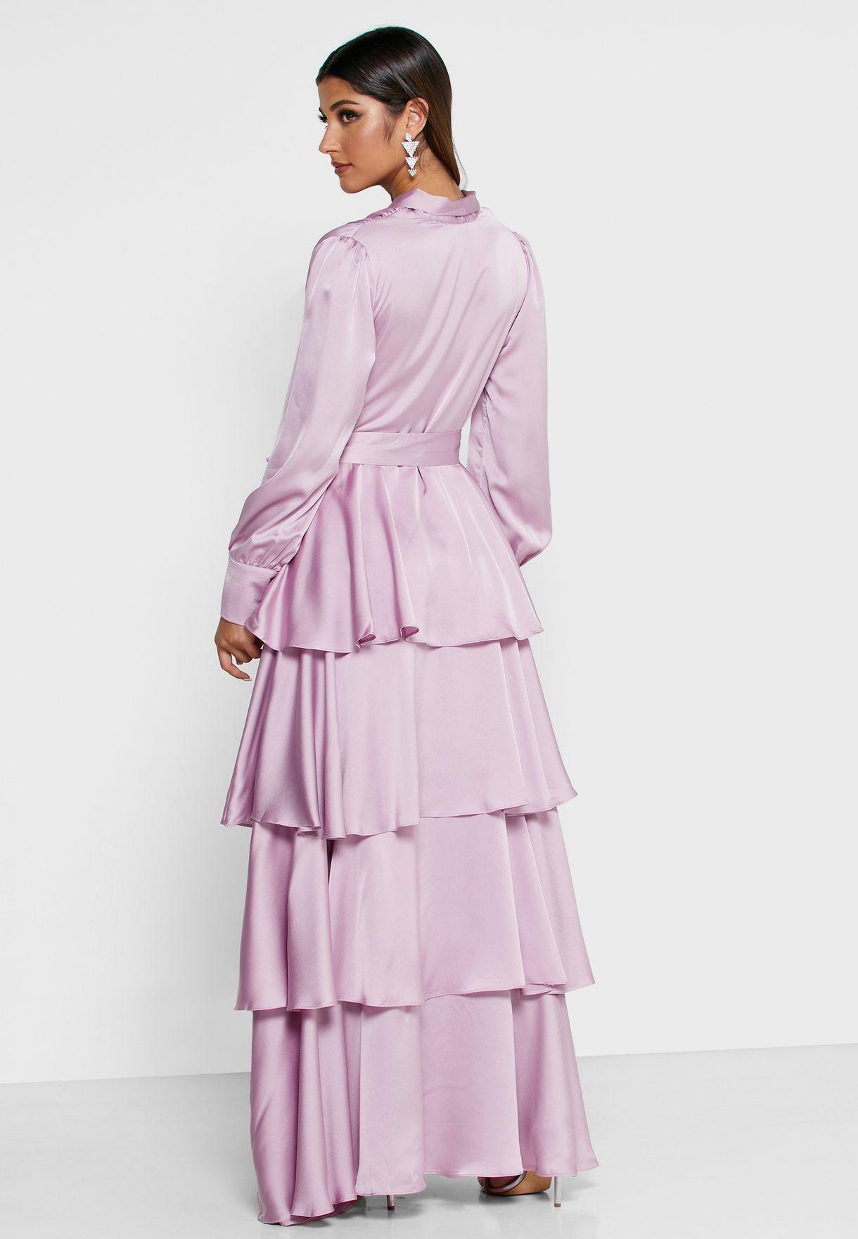 فستان مكسي ستان بنمط لف وطبقات كشكش