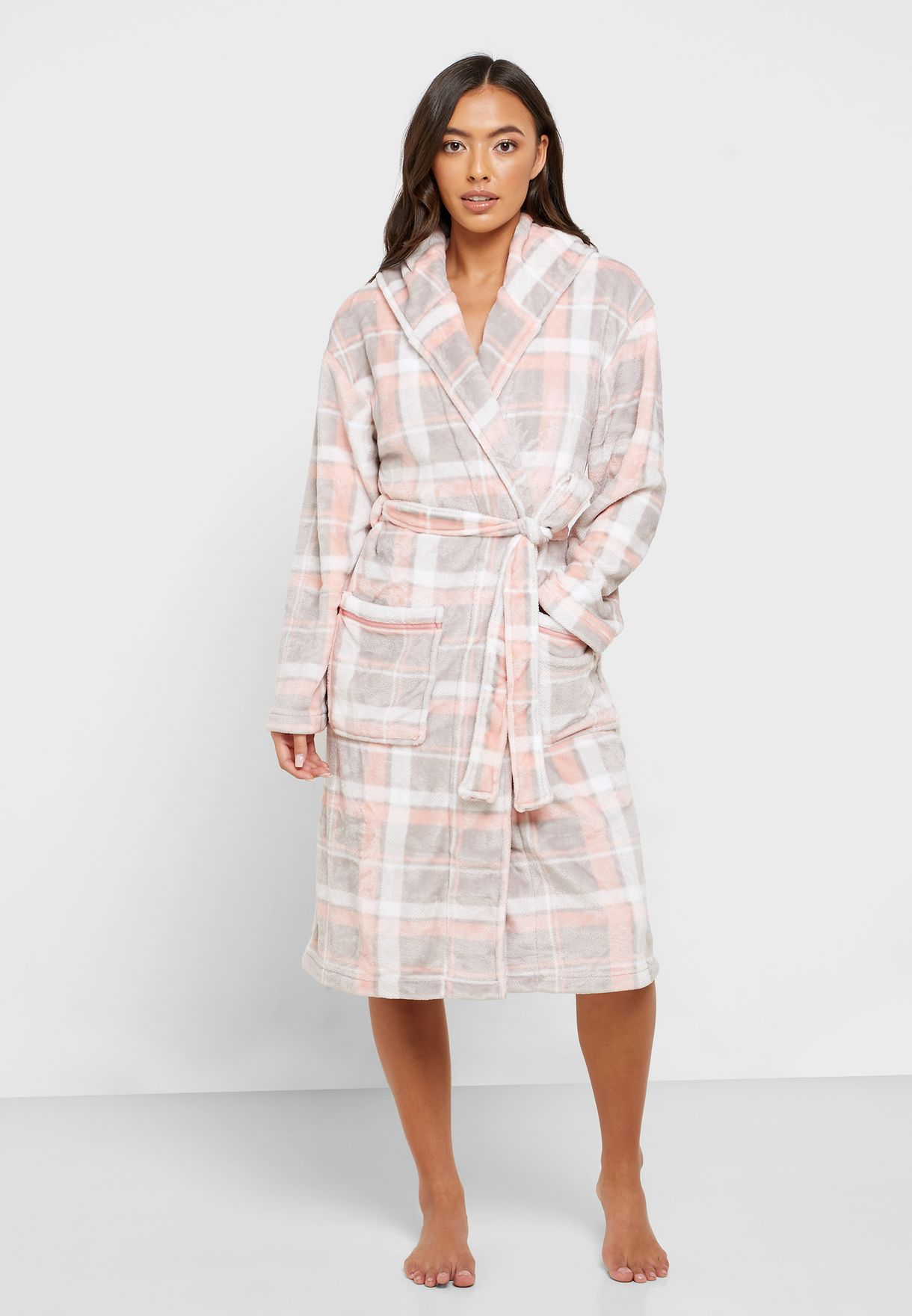 Belted Checked Hooded Robe