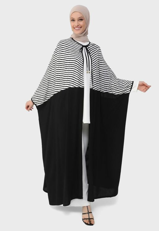 Colorblock Striped Abaya