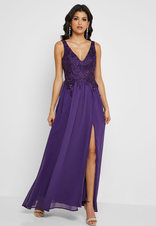 Lace Front Slit Maxi Dress