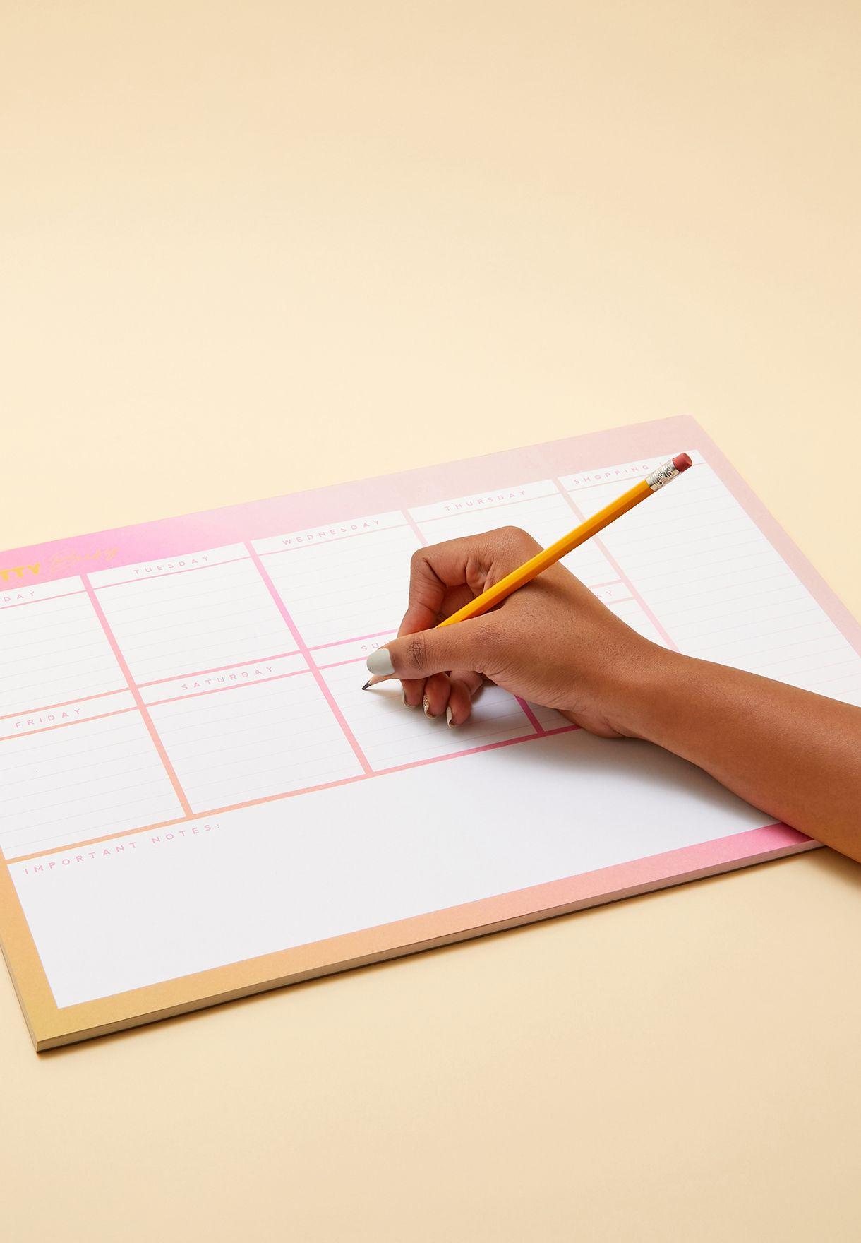 جدول لتنظيم مواعيد الاسبوع
