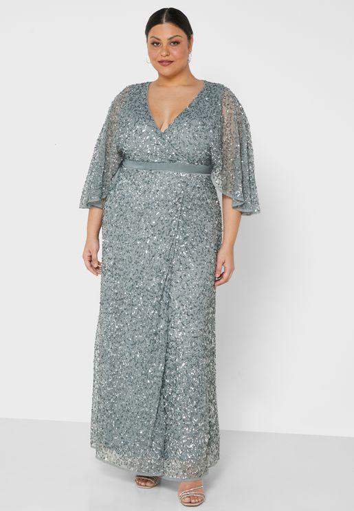 فستان ماكسي لف بالترتر واكمام واسعة
