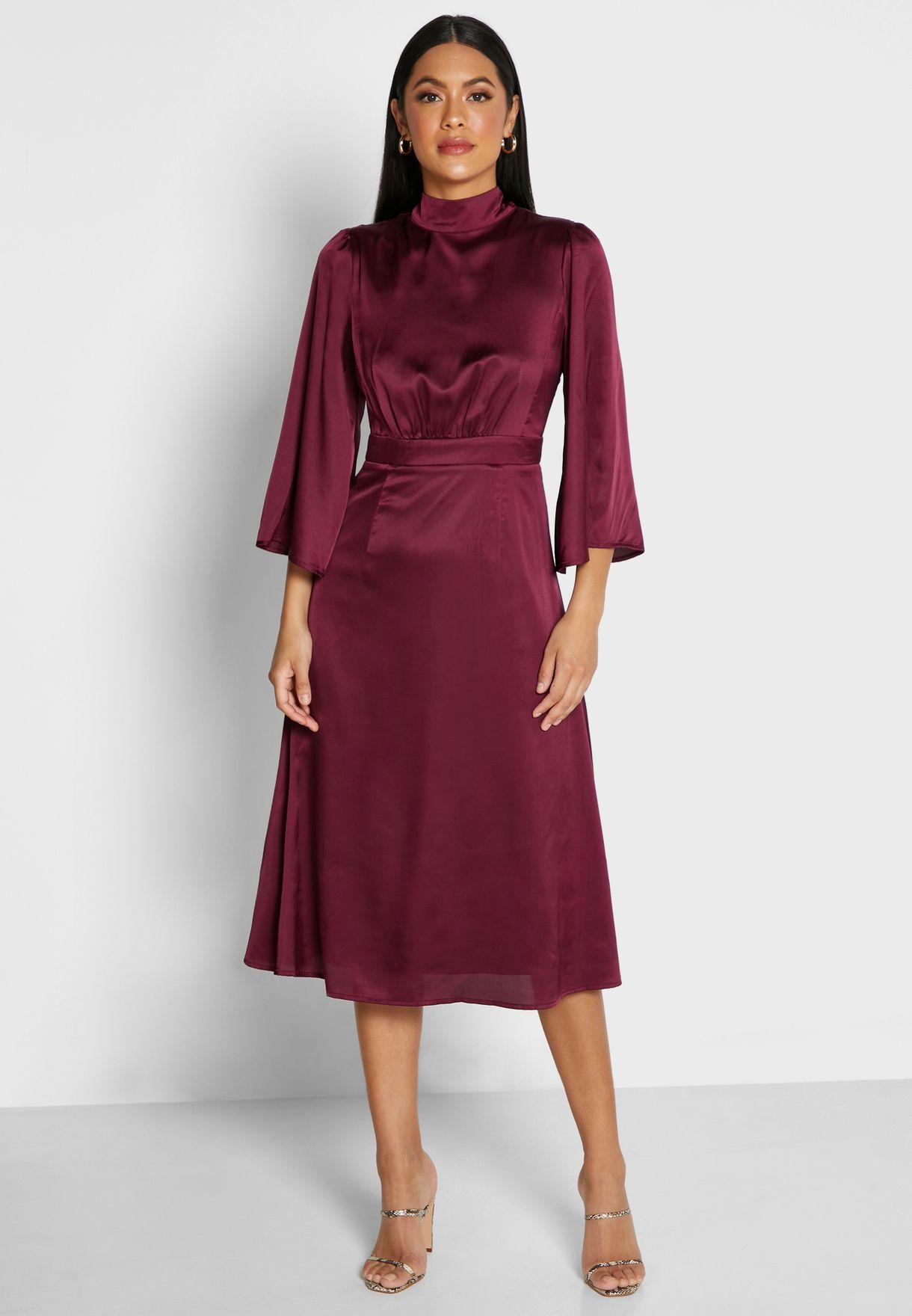 Satin High Neck Midi Dress