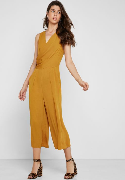 Front Wrap Detail Belted Jumpsuit