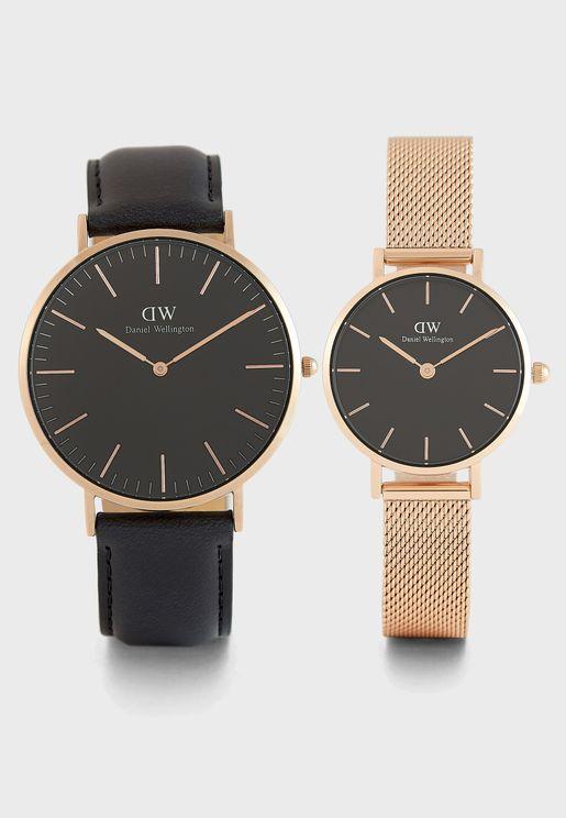 طقم هدايا (ساعة بيتيت ميلروز + ساعة شيفيلد كلاسيك)