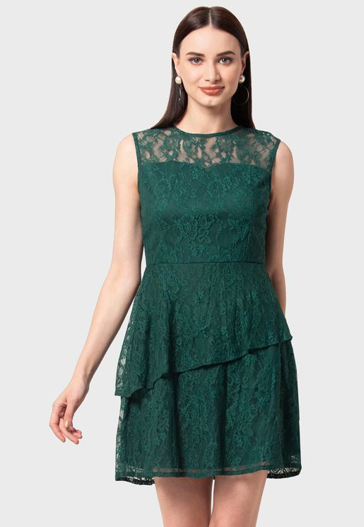 Bottle Green Lace Tiered Mini Dress