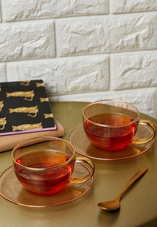 مجموعة شاي زجاجية (2 فنجان + 2 صحن)