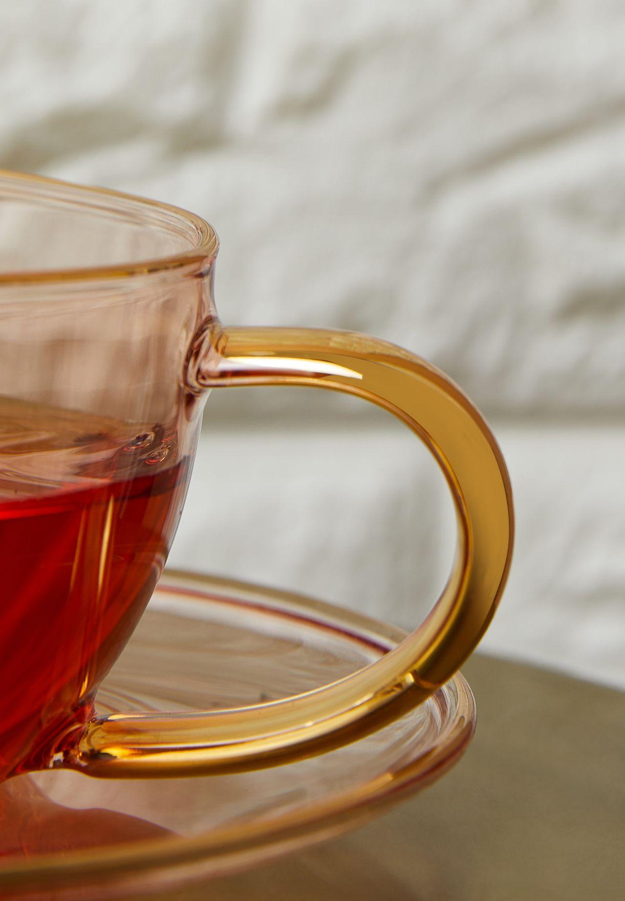 Set Of 2 Rose Glass Teacups & Saucers