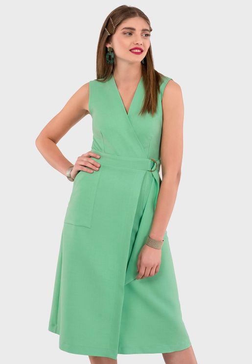 Ring Detail Wrap Dress
