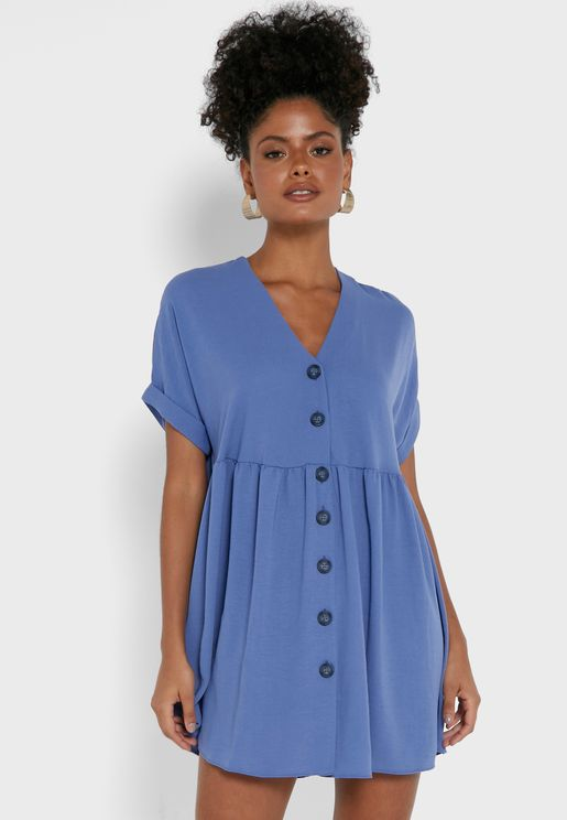 Button Down Pleated Dress