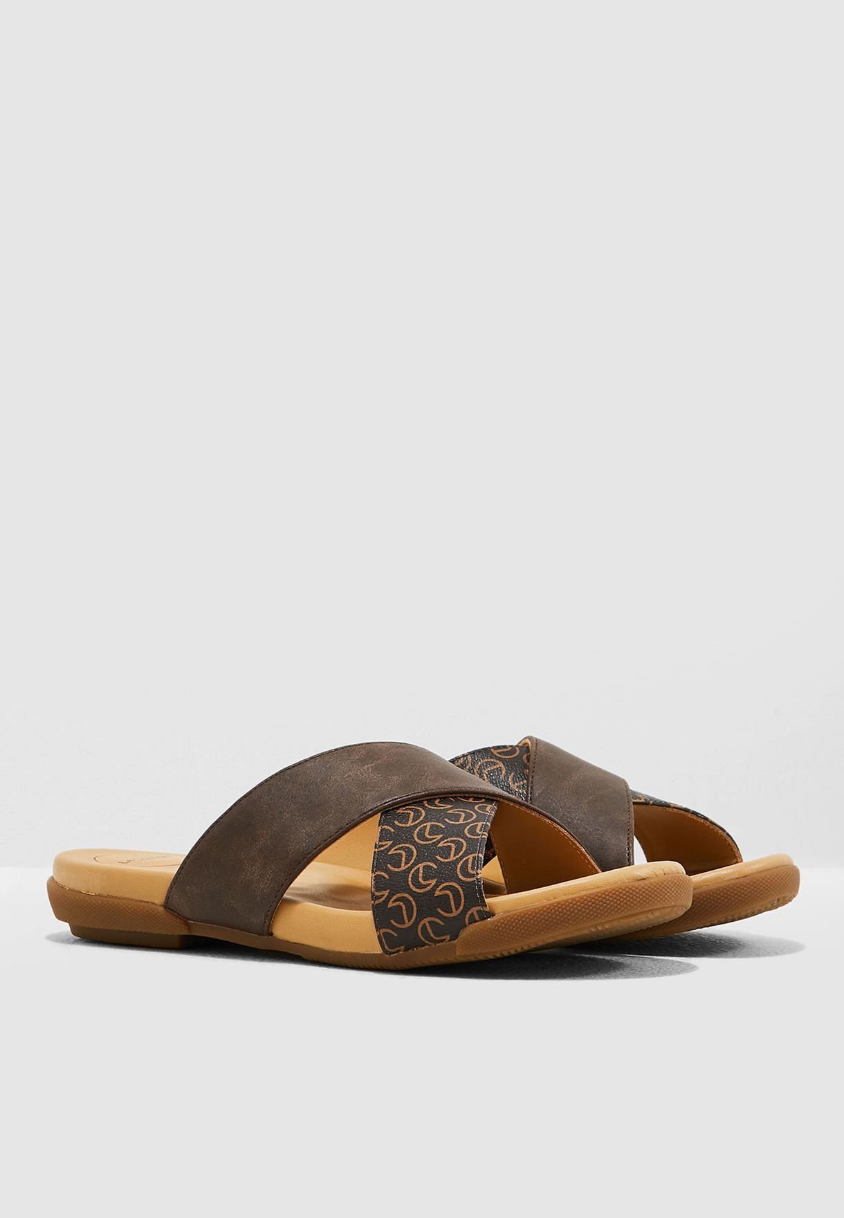 Cross Strap Sandal - Brown