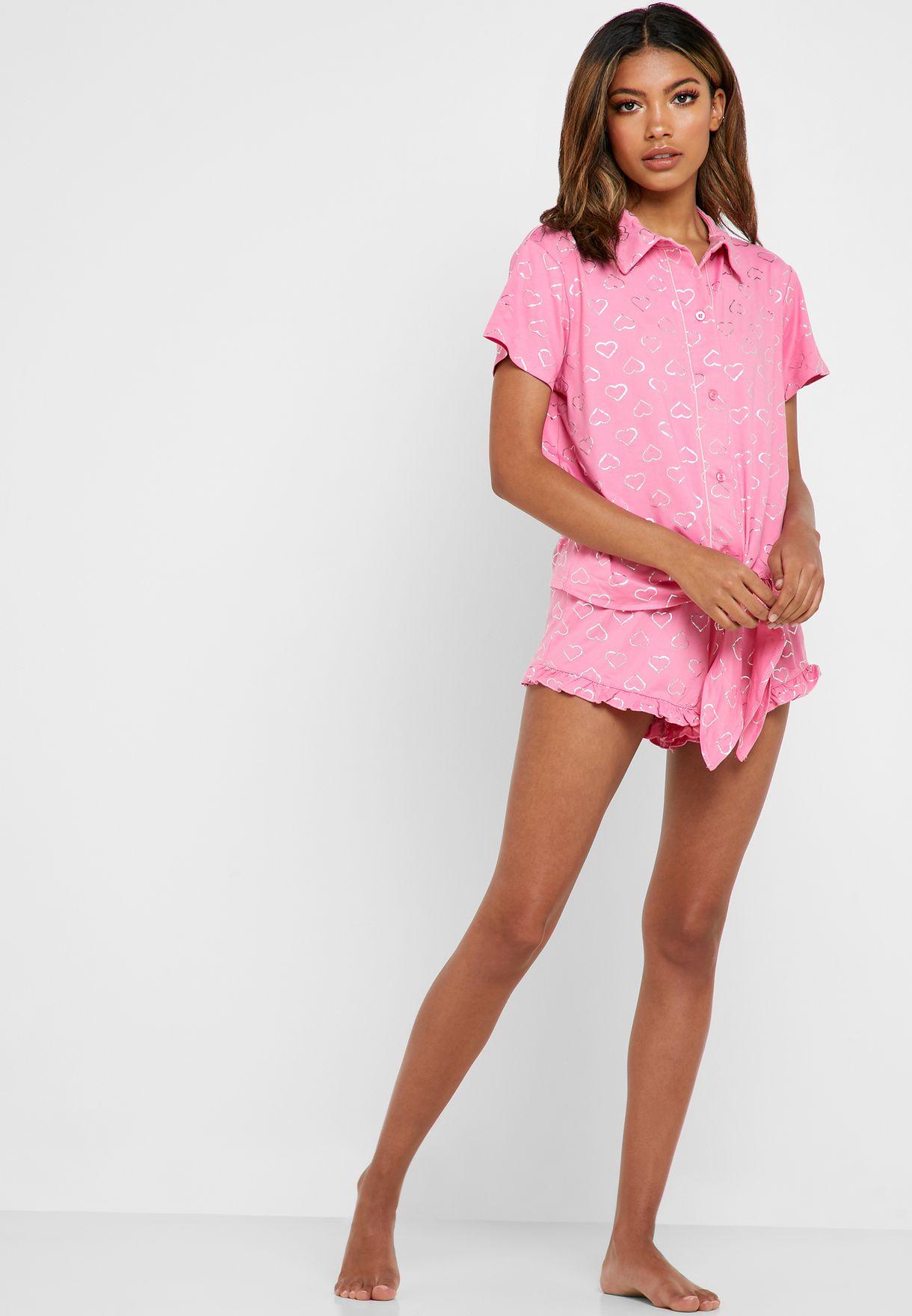 Front Tie Heart Print Shirt & Shorts Set