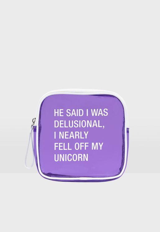 Unicorn Slogan Make Up Bag