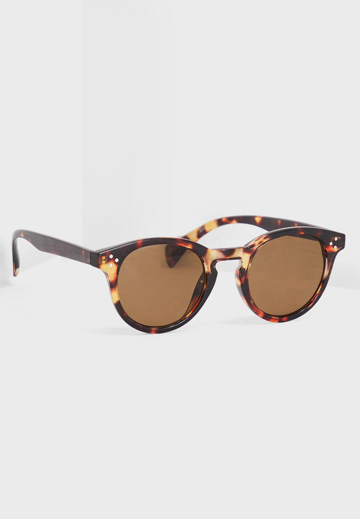 6d676a669717 Shop Topman Brown Tortoiseshell Round Sunglasses 56S29RBRN for Men ...