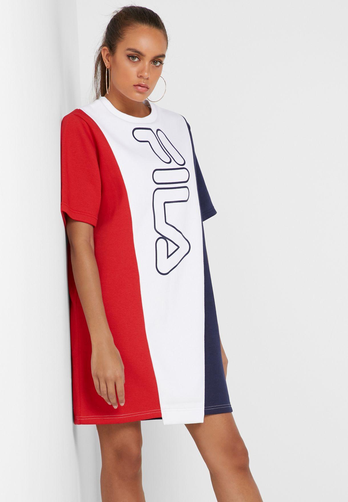 4d9c51f8734c Shop Fila white Primavera Oversized T-Shirt Dress LW911121-100 for ...