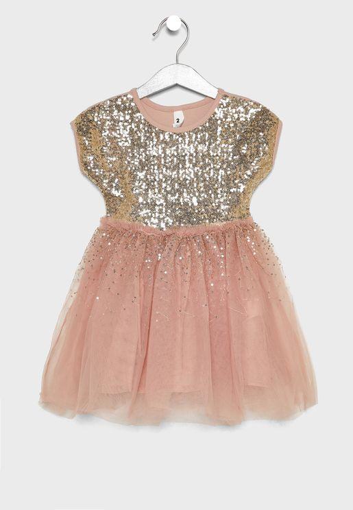 Kids Sequin Mesh Dress