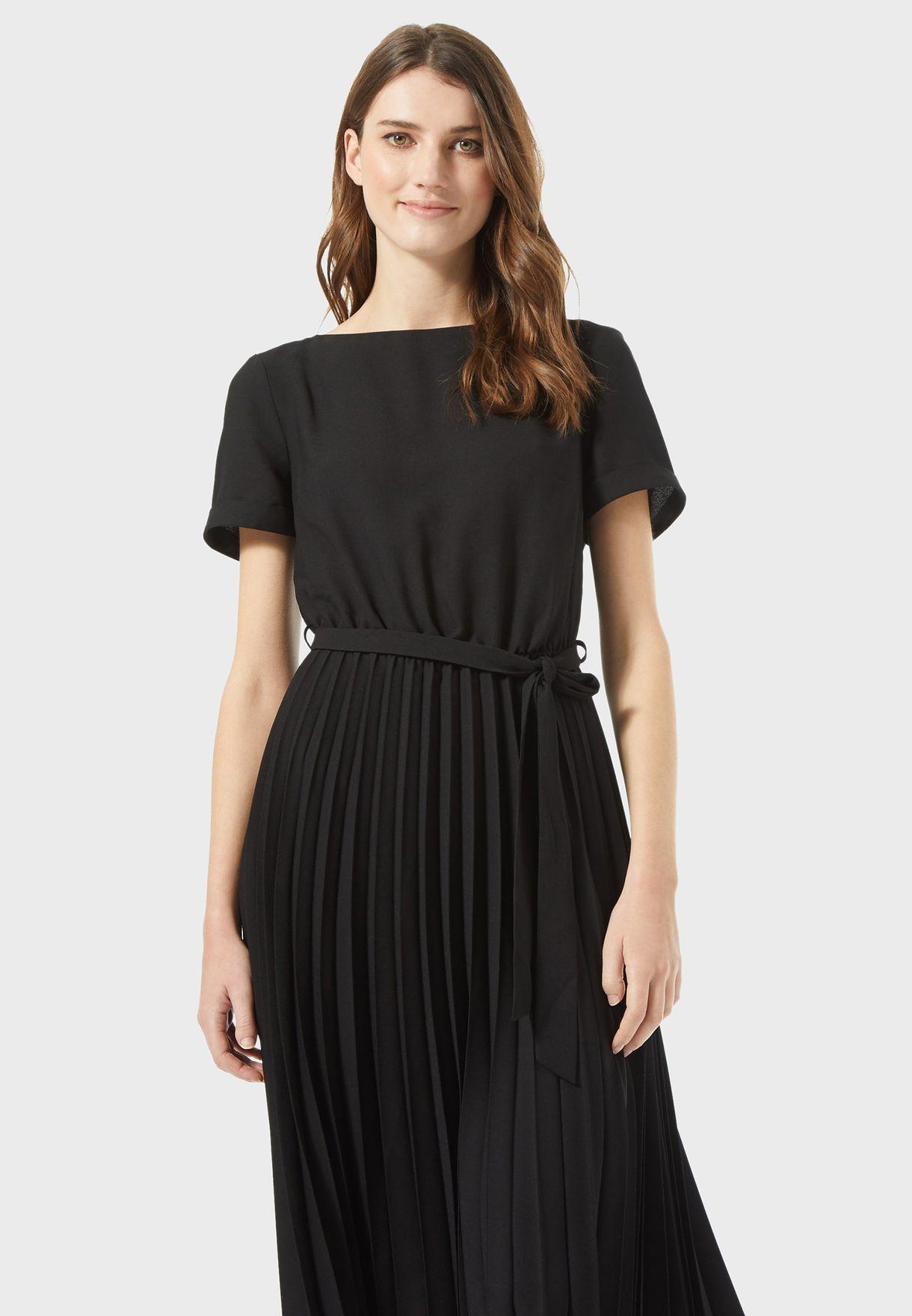 Tie Waist Plisse Dress