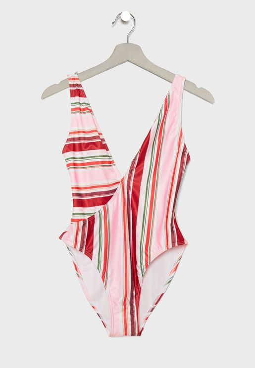 Stripe Crossover Swimsuit
