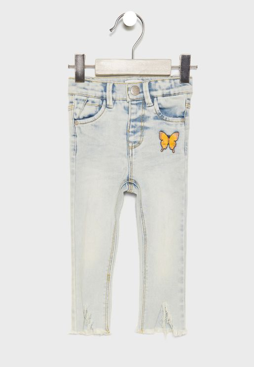 Kids Butterfly Embroidered Jeans