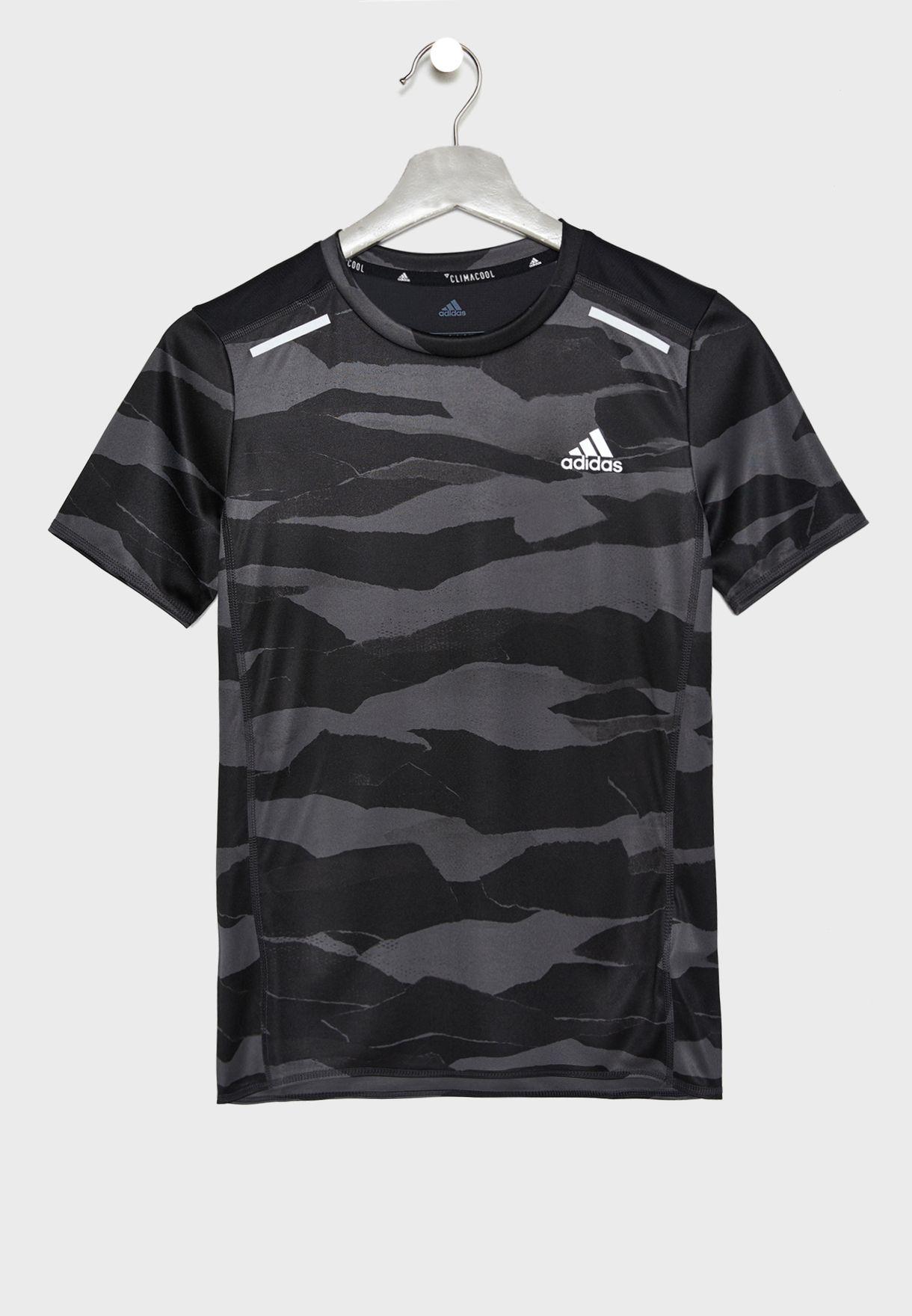 7eb72a0d0 Shop adidas grey Youth Run Camo T-Shirt DV2936 for Kids in UAE ...