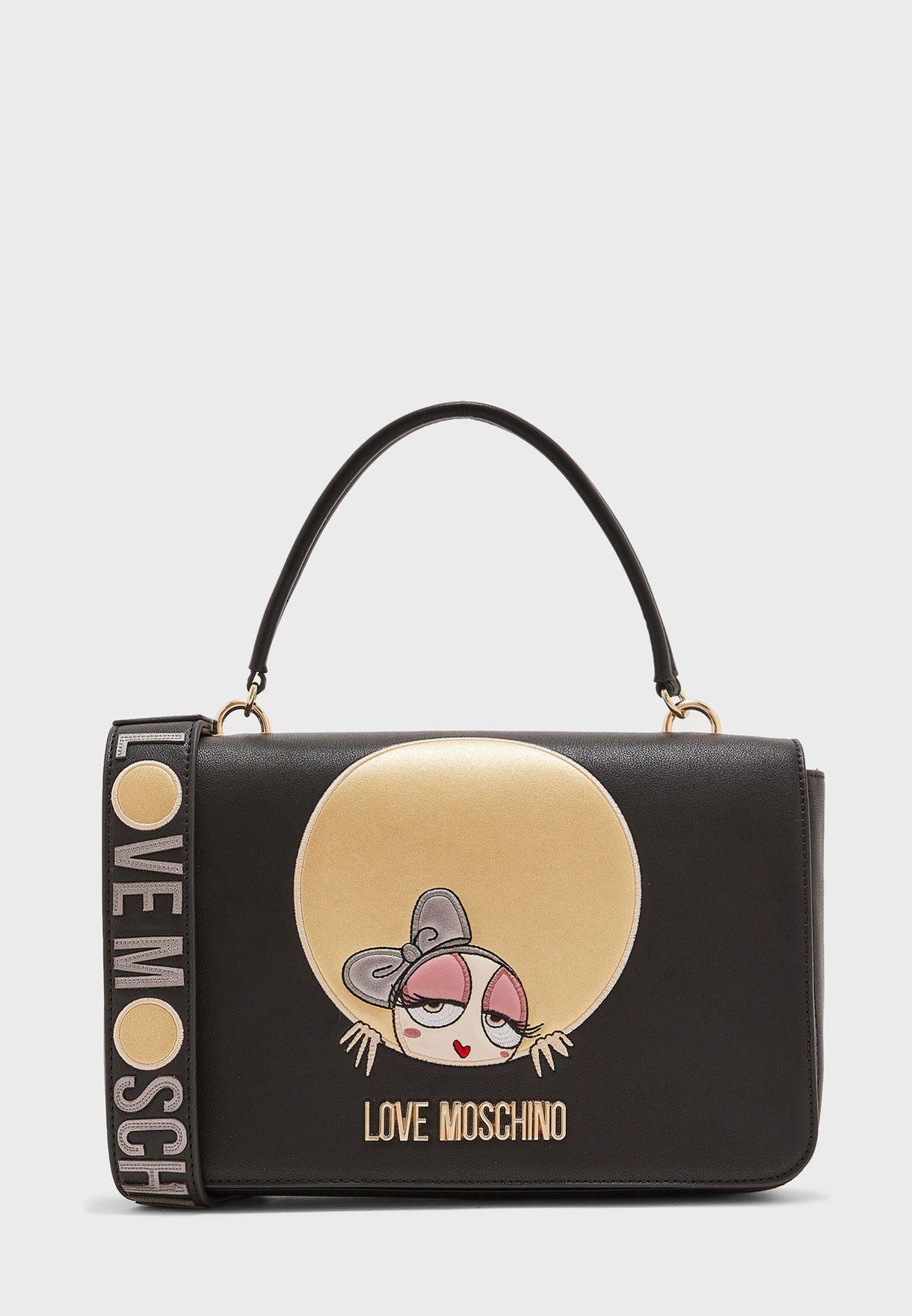 Love Moschino Womens Top Handle Cross Body Bags Handbag Black