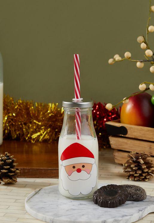 Santa Mini Milk Bottle With Straw
