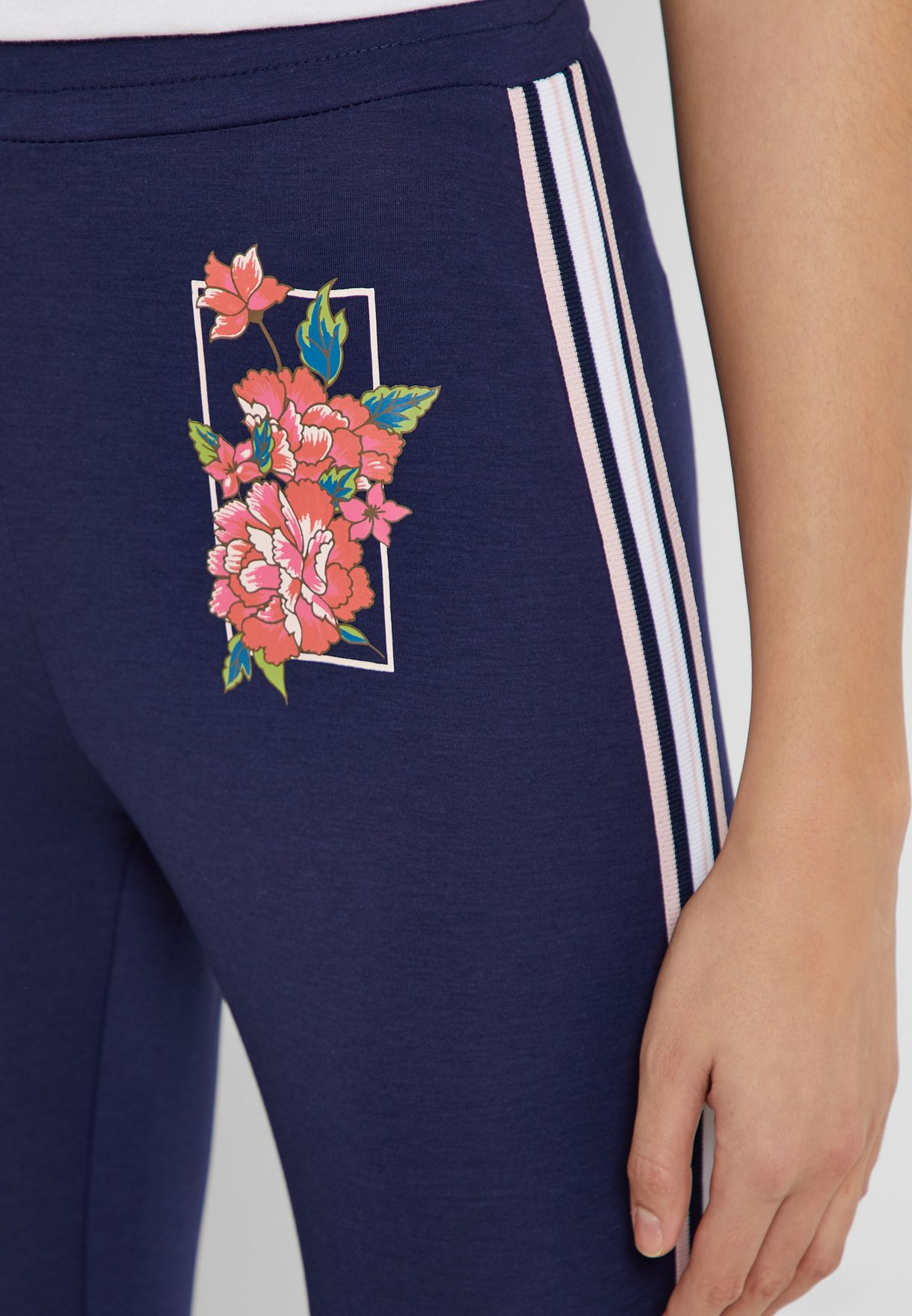 Side Stripe Floral Graphic Leggings