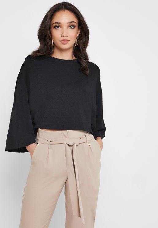 Crew Neck Wide Sleeve Top