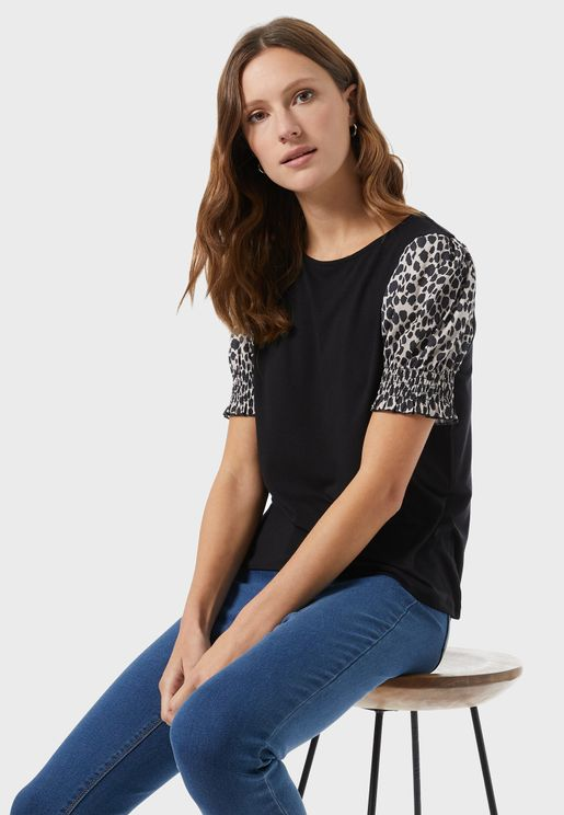 Animal Print Puff Sleeve Top