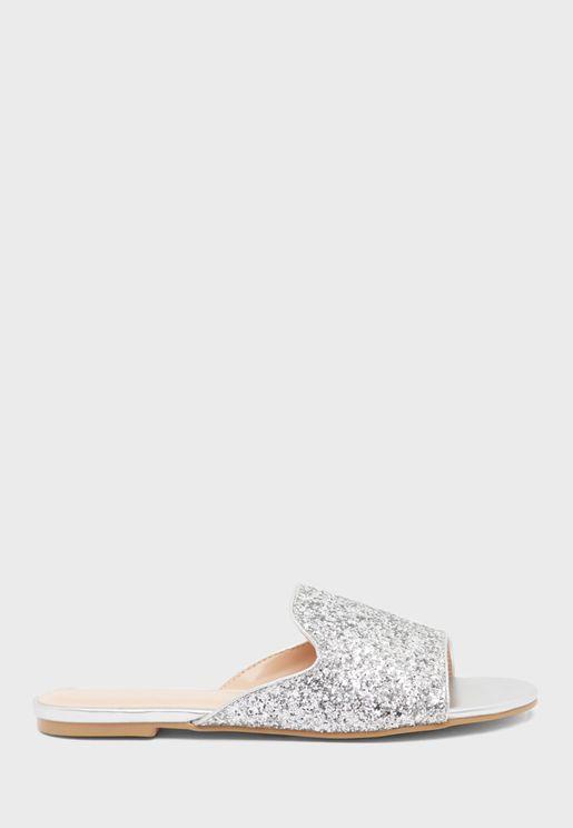 Shimmer Wide Strap Flat Sandal