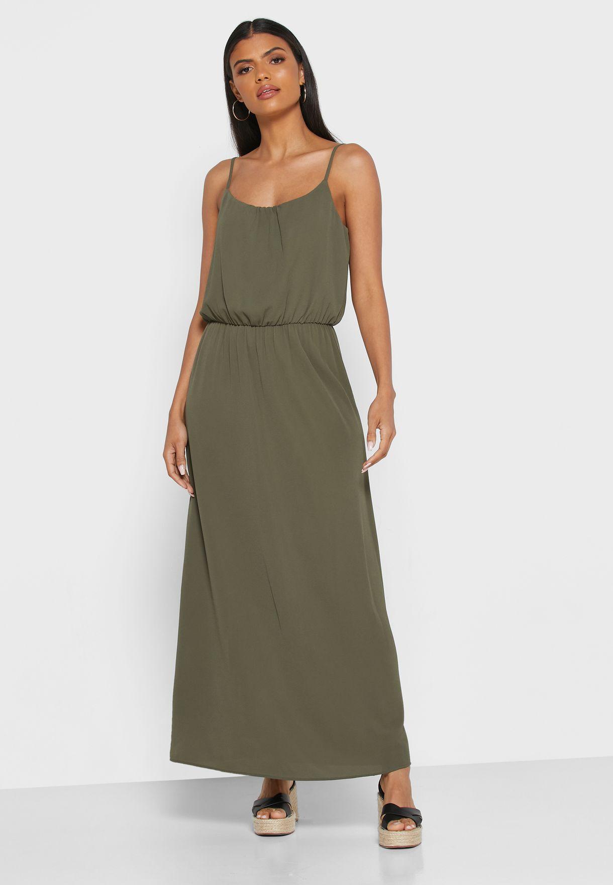 Cami Strap Shirred Waist Dress