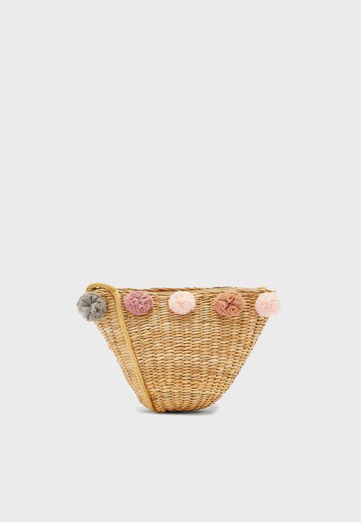 Kids Crochet Floral Basket Crossbody