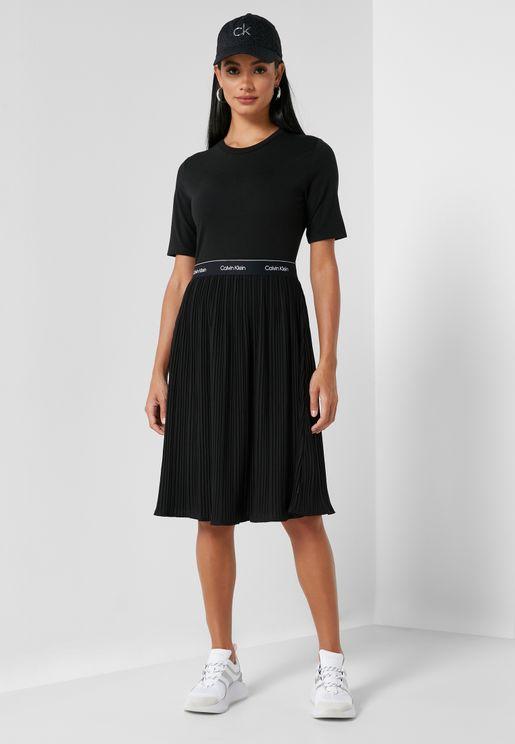 Pleated Shift Dress