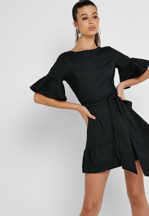 a750fa06301e Ruffle Hem Tie Waist Dress