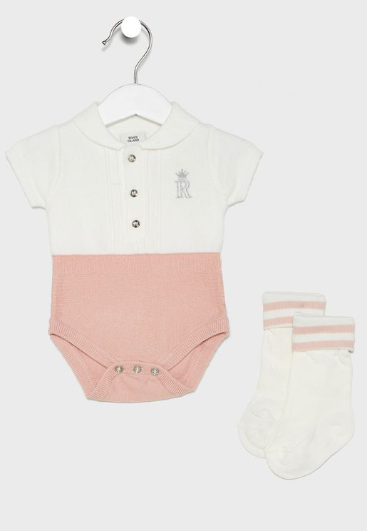 Infant Knitted Romper With Socks
