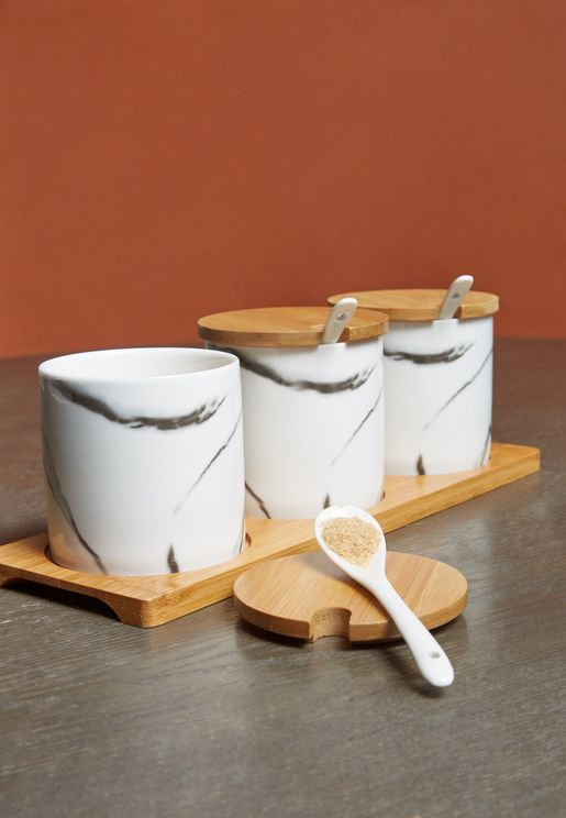 Set of 3 Marble Storage Jars