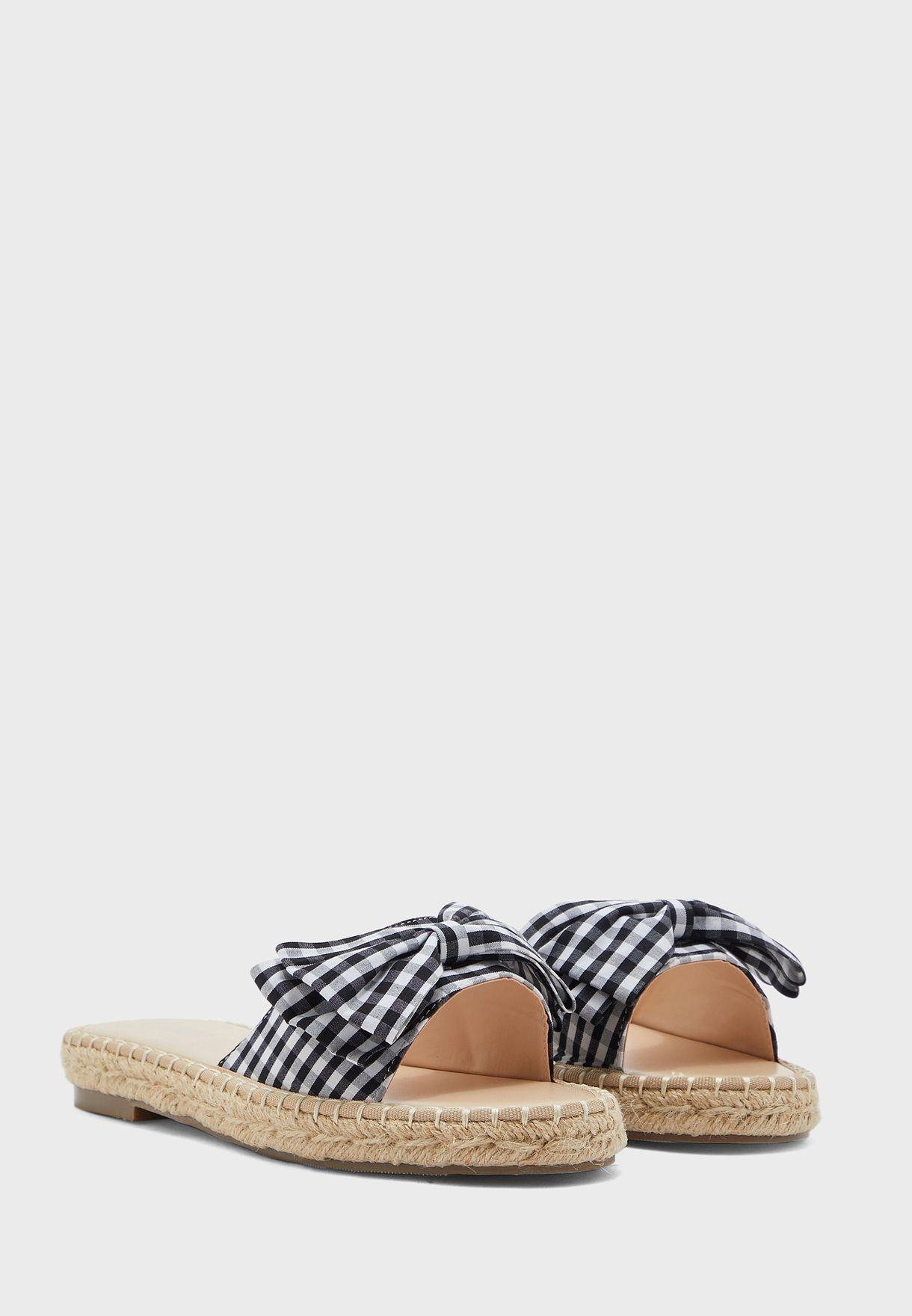 Gingham Bow Espadrille Flat Sandal
