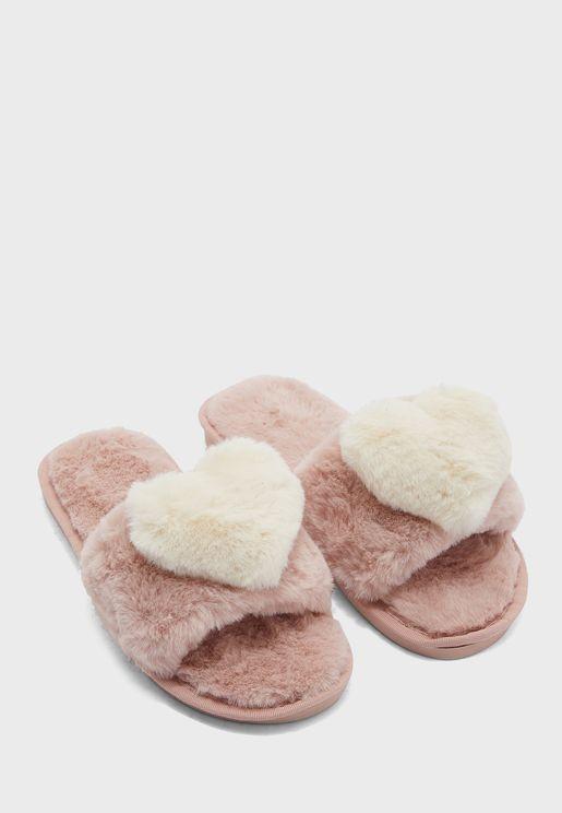 Furry Heart Open Toe Bedroom Slippers
