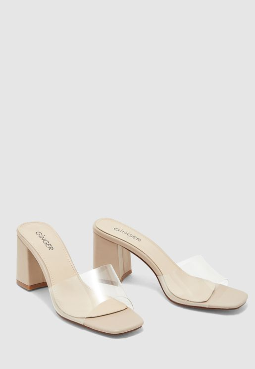 Mule Sandals With Clear Strap
