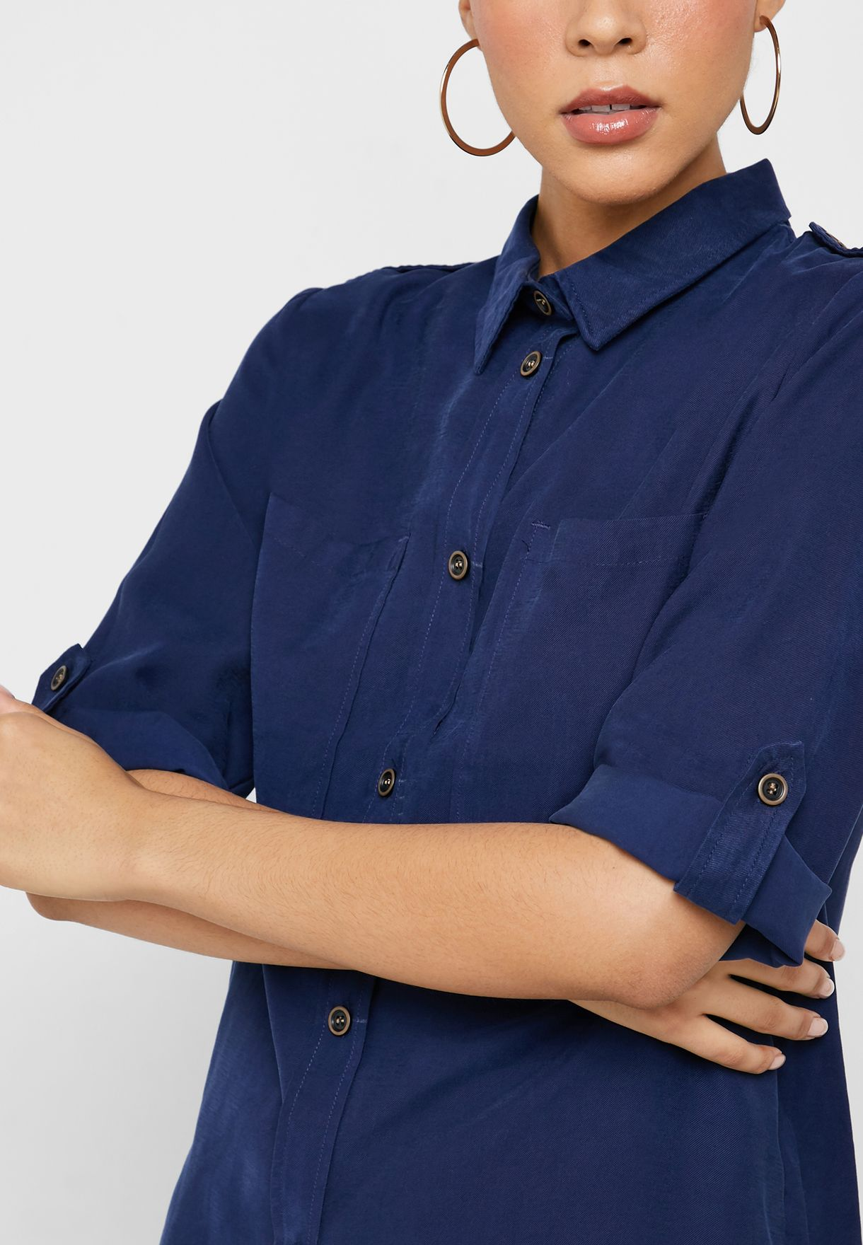 Pocket Detail 3/4 Sleeve Shirt