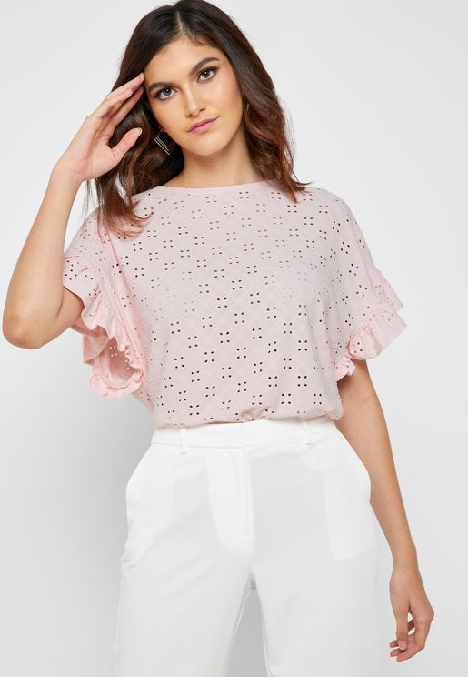 Ruffle Sleeve Broiderie Top