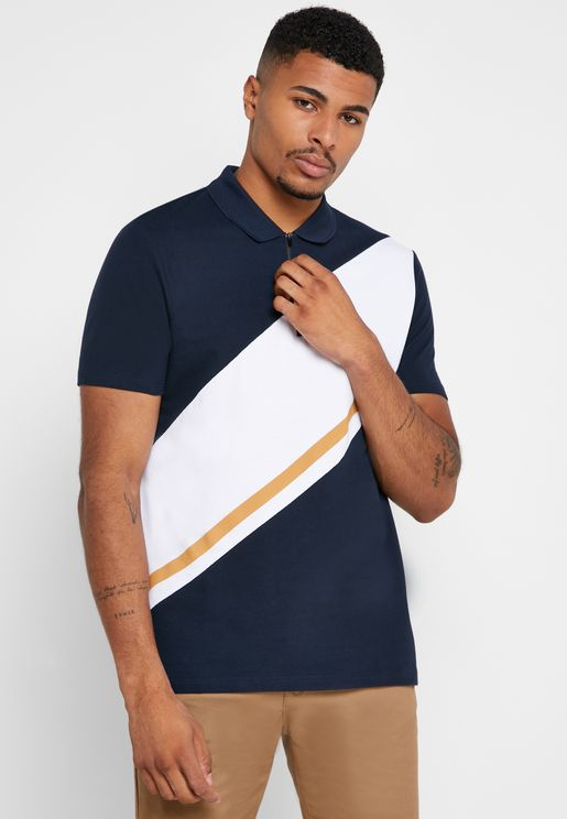 Cut And Sew Zip Detail Polo