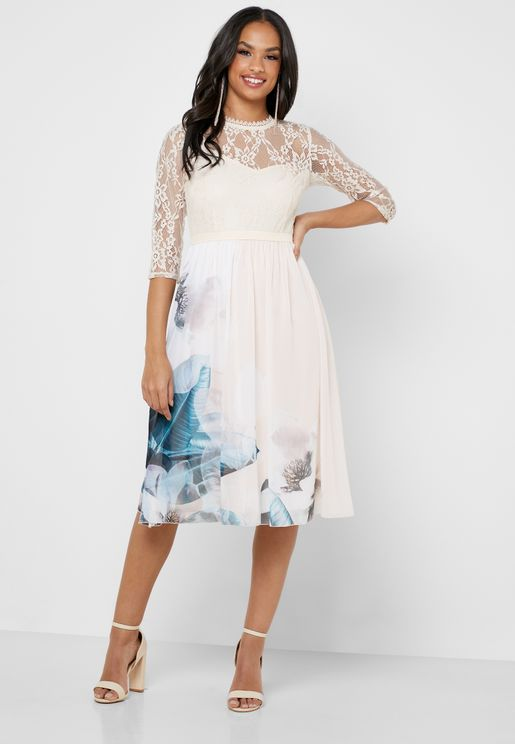 Lace Top Floral Print Skirt Dress