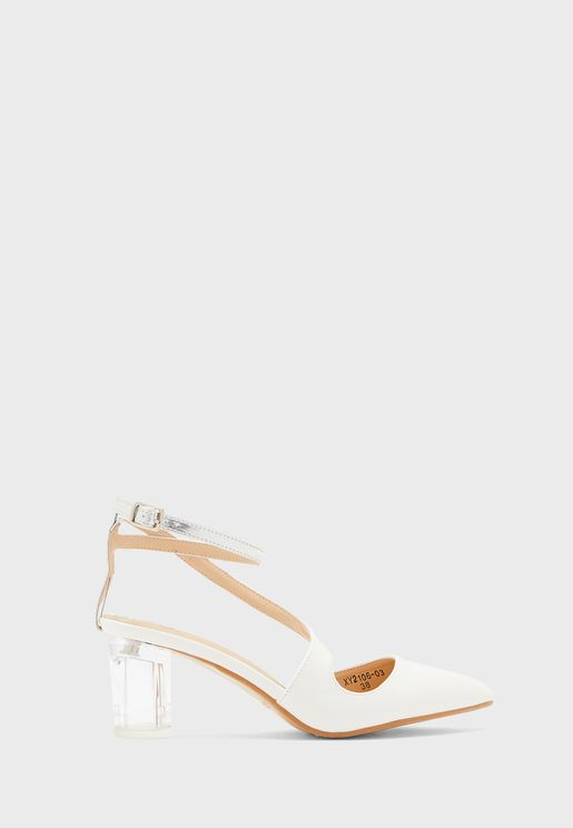 Twisted Ankle Strap Clear Heel Point Pump