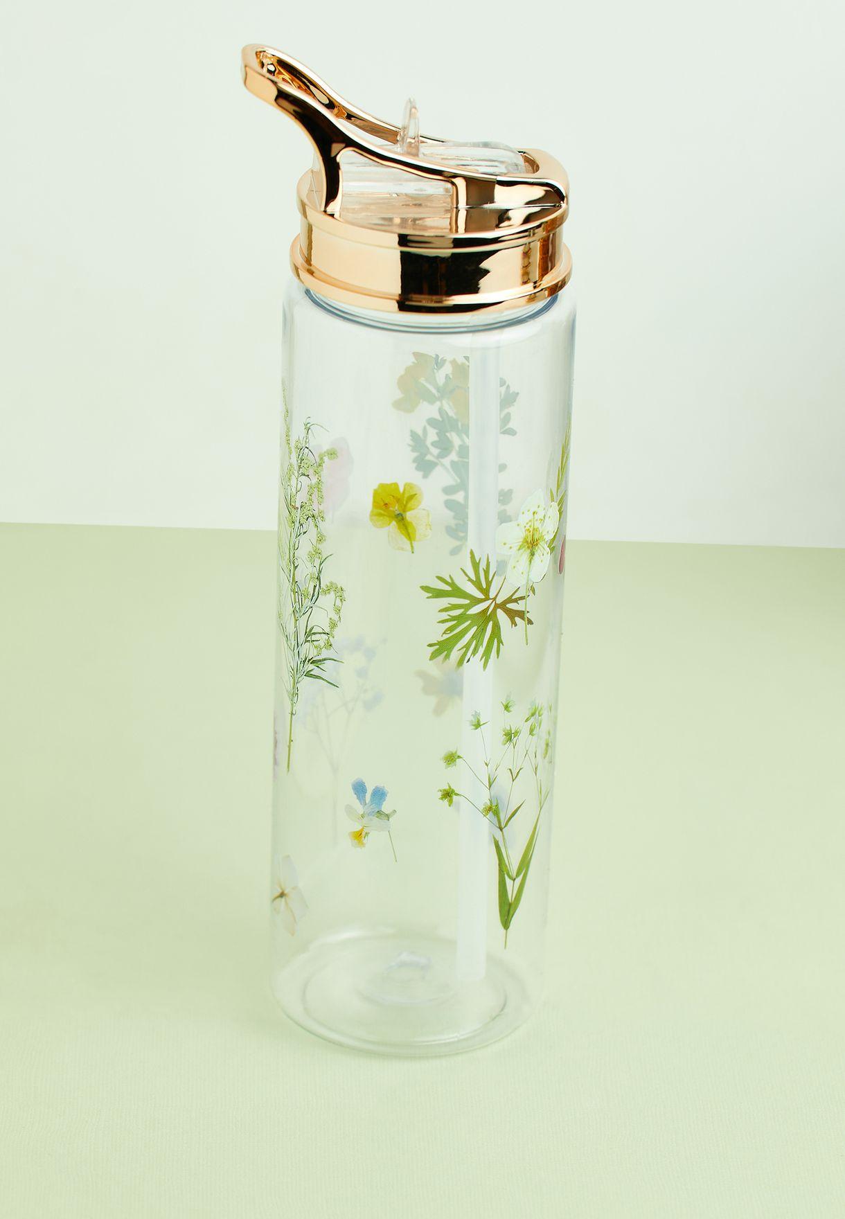 قارورة مياه بطباعة زهور