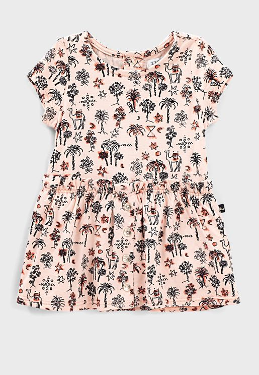 Kids Printed Pleated Midi Dress