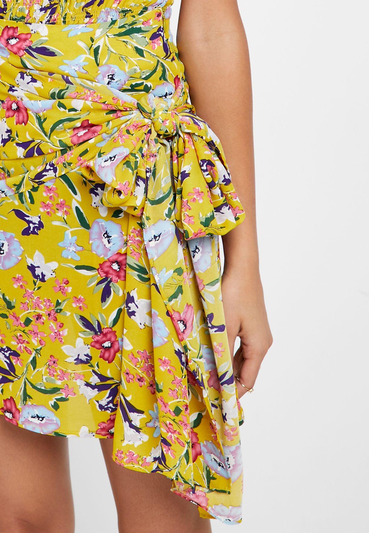 Side Tie Floral Print Skirt