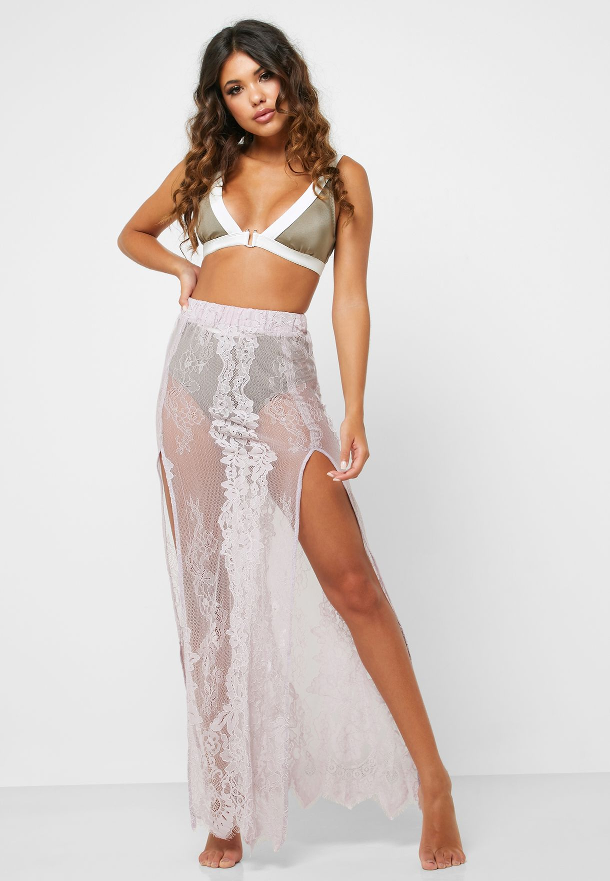 newest style detailed images on feet at Side Split Sheer Lace Maxi Skirt