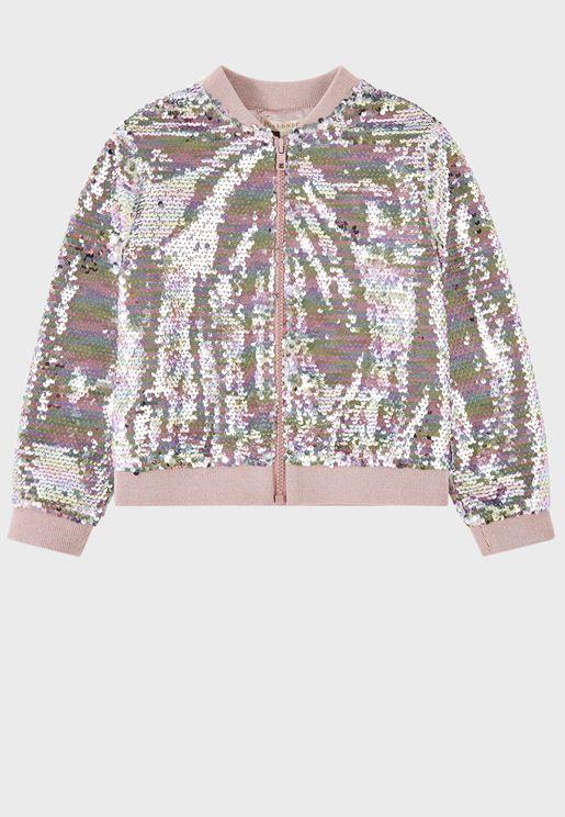 Kids Rainbow Sequin Jacket